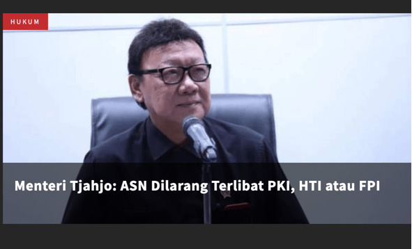 Menteri Tjahjo Kumolo: ASN Dilarang Terlibat PKI, HTI dan FPI