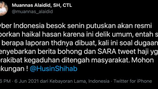 Sebar Berita Bohong dan SARA, Cyber Indonesia Resmi Laporkan Haikal Hassan