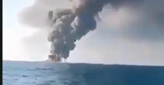 Kapal AL Iran Tenggelam di Teluk Oman Setelah Terbakar