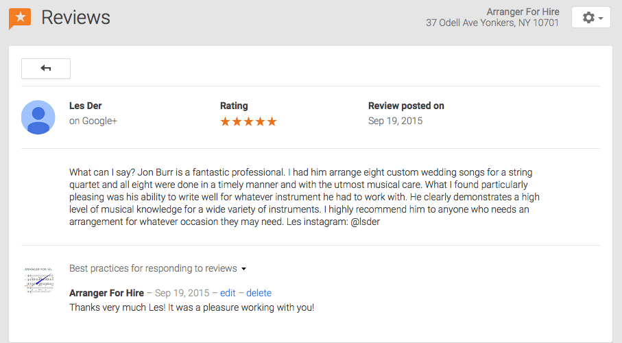 5-star review graphic from Google+