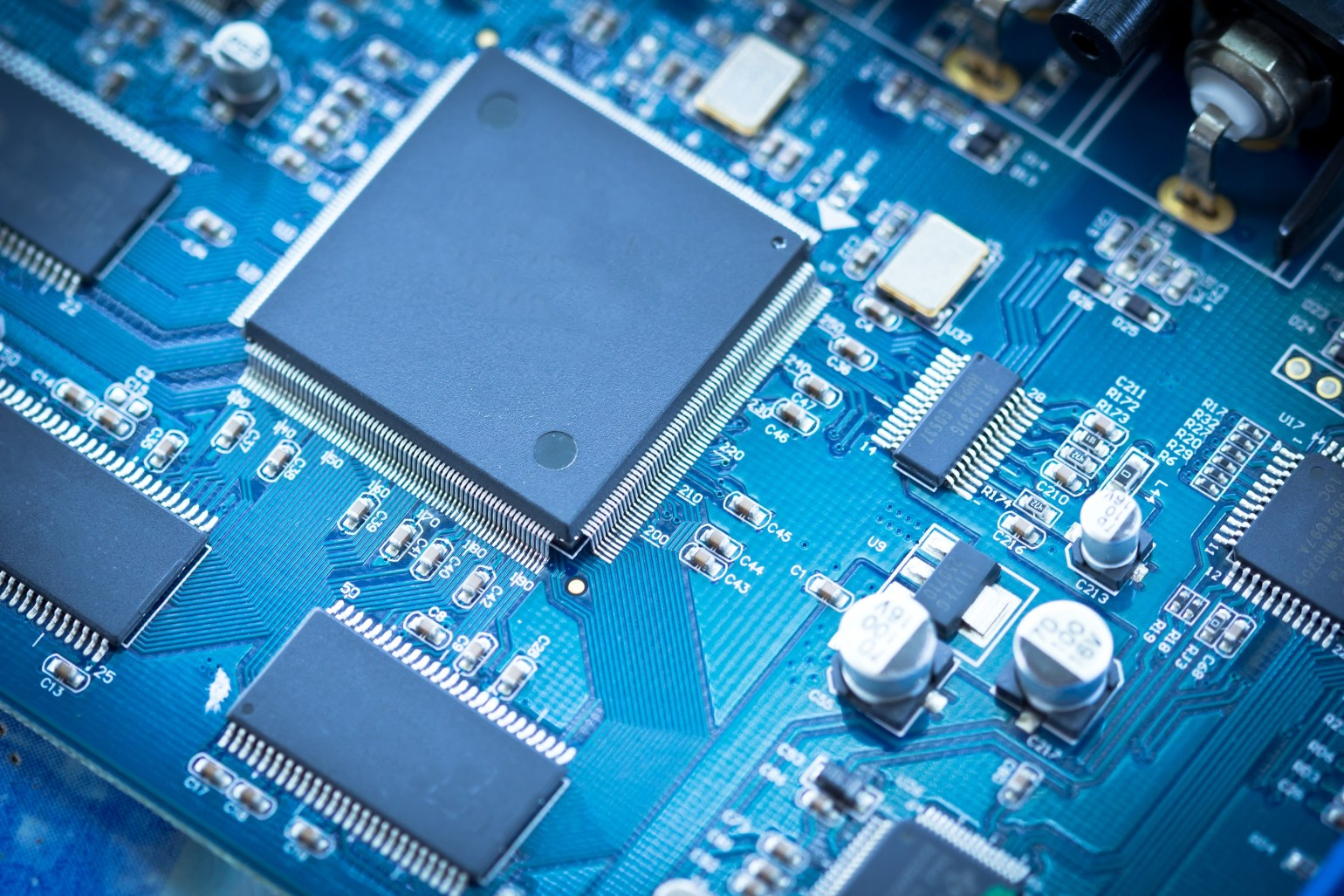 close up of Electronic circuit chip on pcb board