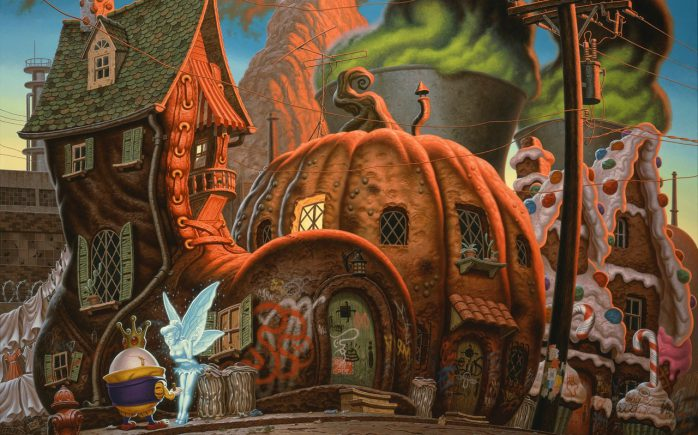 """NoSolarPowerForFairyland-HI-2-698x435 Releases / Signings: Todd Schorr – """"Neverlasting Miracles"""" @ KP Projects Random"""