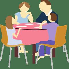 family eating dinner, talk to children