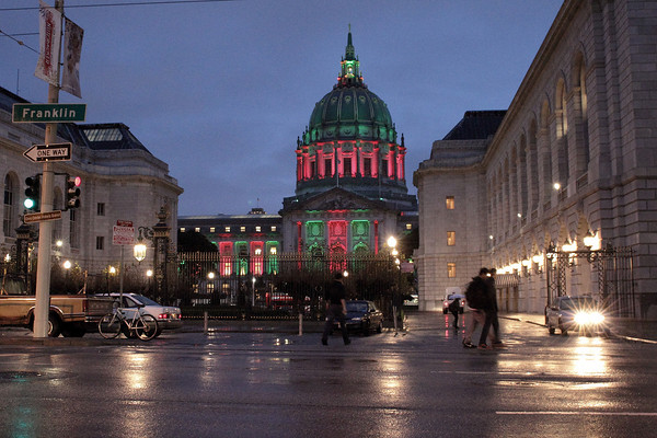 SF City Hall lit in Christmas themed lighting