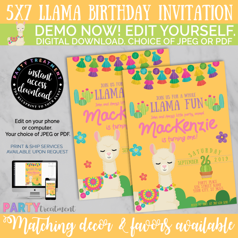 Llama Birthday Invitation. Demo before you buy. Available from Party Treatment
