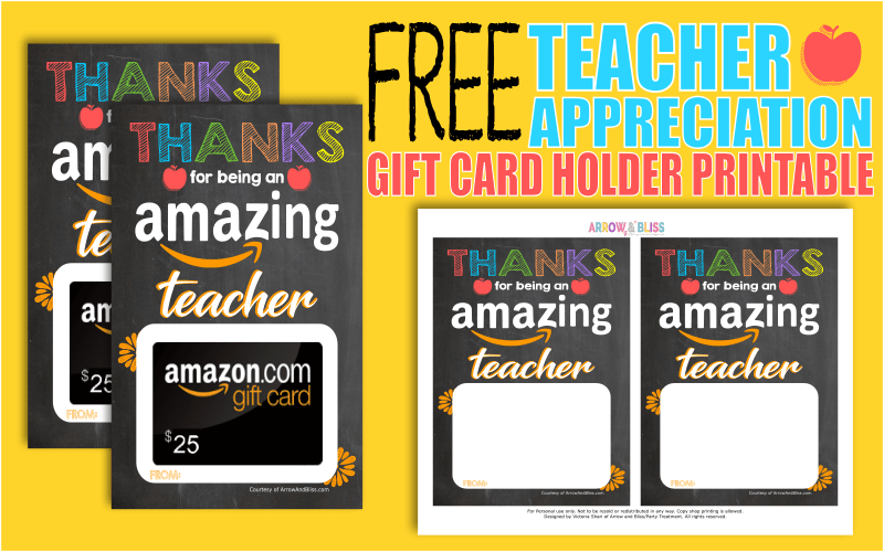 image about Printable Amazon Gift Card referred to as Totally free Instructor Appreciation Printable