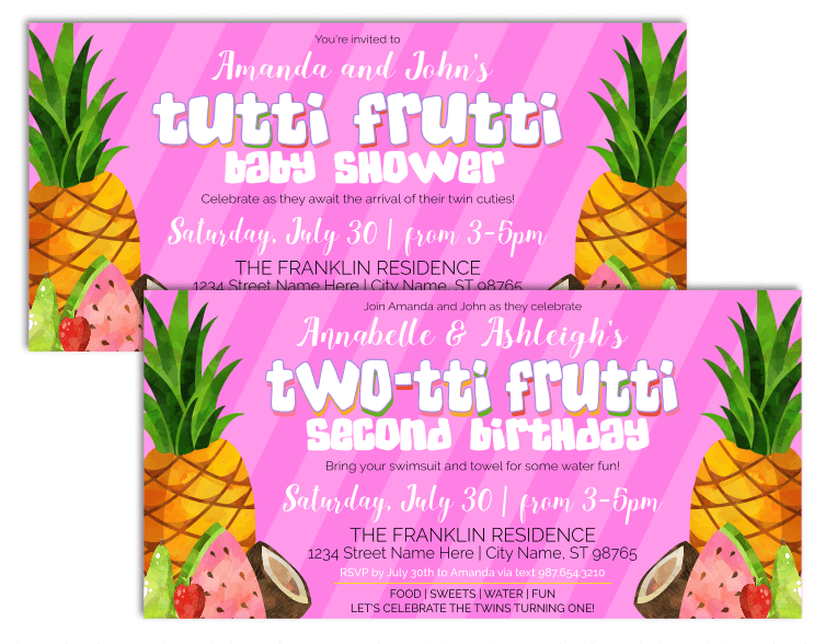 This Tutti Frutti or TWO-tti Frutti invitation is an editable instant download. Perfect for a 2nd birthday party, summer bash, or twins baby shower.
