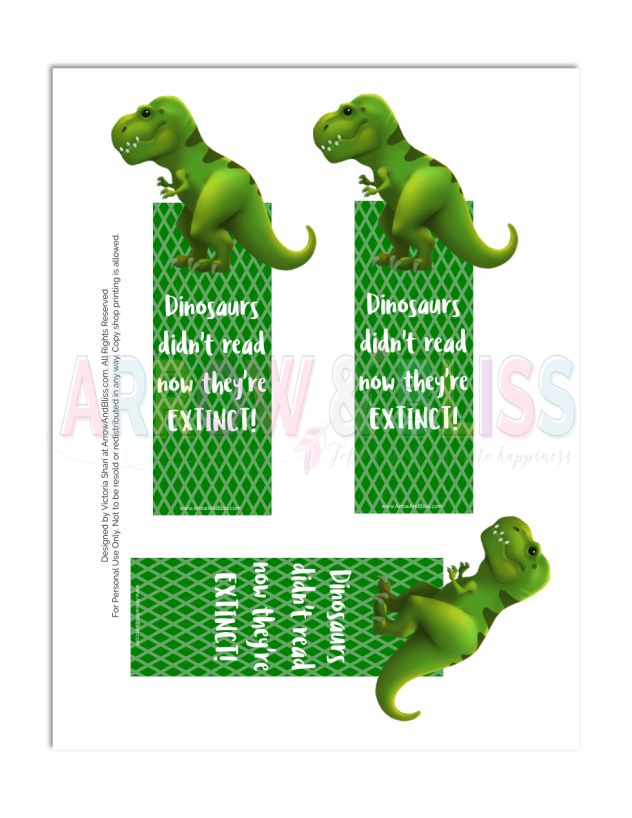 Grab this FREE dinosaur or chubby unicorn printable bookmark plus FREE Silhouette cut file from Victoria Shari at Arrow and Bliss.