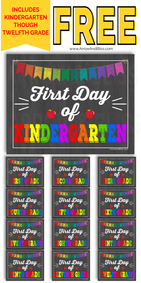 image about Free Printable First Day of School Signs named No cost Initially Working day of University Printable Signs or symptoms