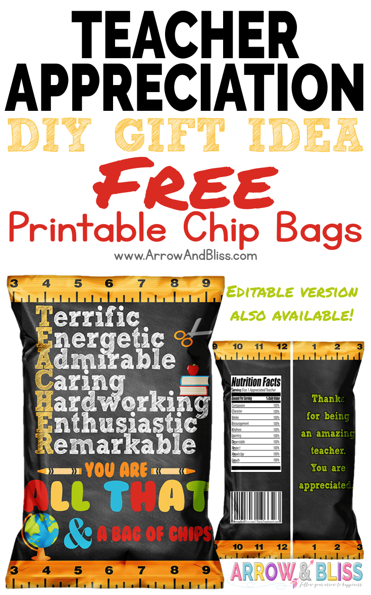 photograph about All That and a Bag of Chips Printable identify No cost Trainer Appreciation Chip Bag Printable