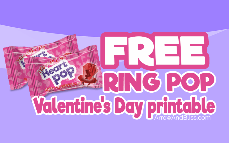 Grab these FREE ring pop Valentines printables. Perfect for preschool valentines or class favors. Available at Arrow and Bliss