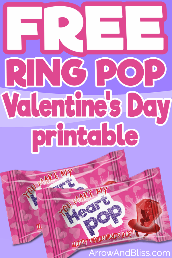 Grab these FREE ring pop valentines printables. Perfect preschool valentine or class valentine favor. Available at Arrow and Bliss