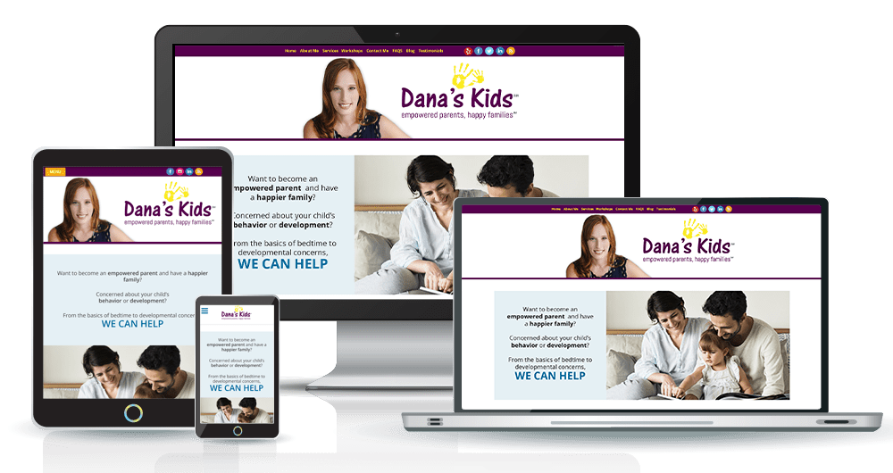 Image of Dana's Kids website on multiple sized devices