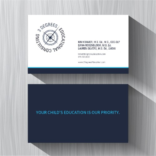 Image of business cards designed for 3 degrees