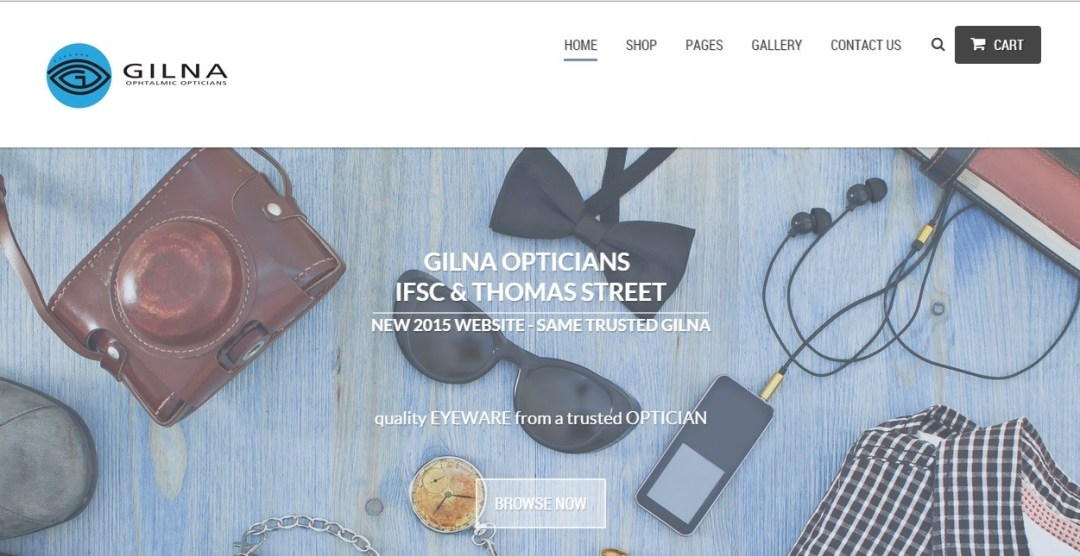 e-commerce dublin webdesign example - Gilna Opticians