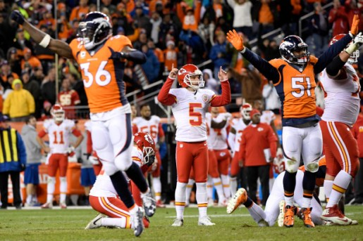 DENVER, CO - NOVEMBER 27: Kansas City Chiefs kicker Cairo Santos (5) watches his game-winning field goal in overtime as Denver Broncos players react during the Chiefs' 30-27 win on Sunday, November 27, 2016. The Denver Broncos hosted the Kansas City Chiefs. (Photo by Joe Amon/The Denver Post)