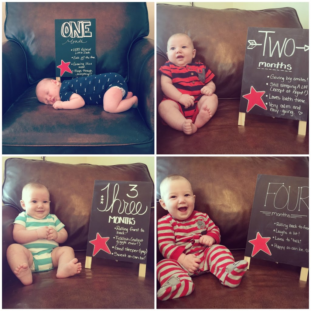 Monthly chalkboard updates. Taking pictures every month to watch our little guy grow.