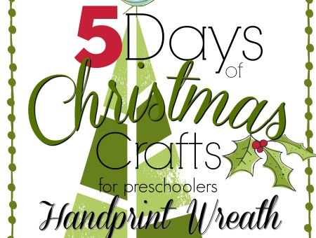 Five days of Christmas crafts. Today we made another classic. A handprint wreath! Construction paper, pom-poms, and glue. So easy and fun!