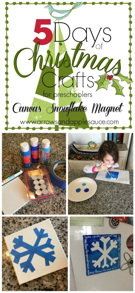 Day three of our five days of Christmas crafts! Today it's a mini canvas snowflake magnet. A tiny canvas masterpiece for your fridge! Just the right size for tiny painters. Your little ones will love it!
