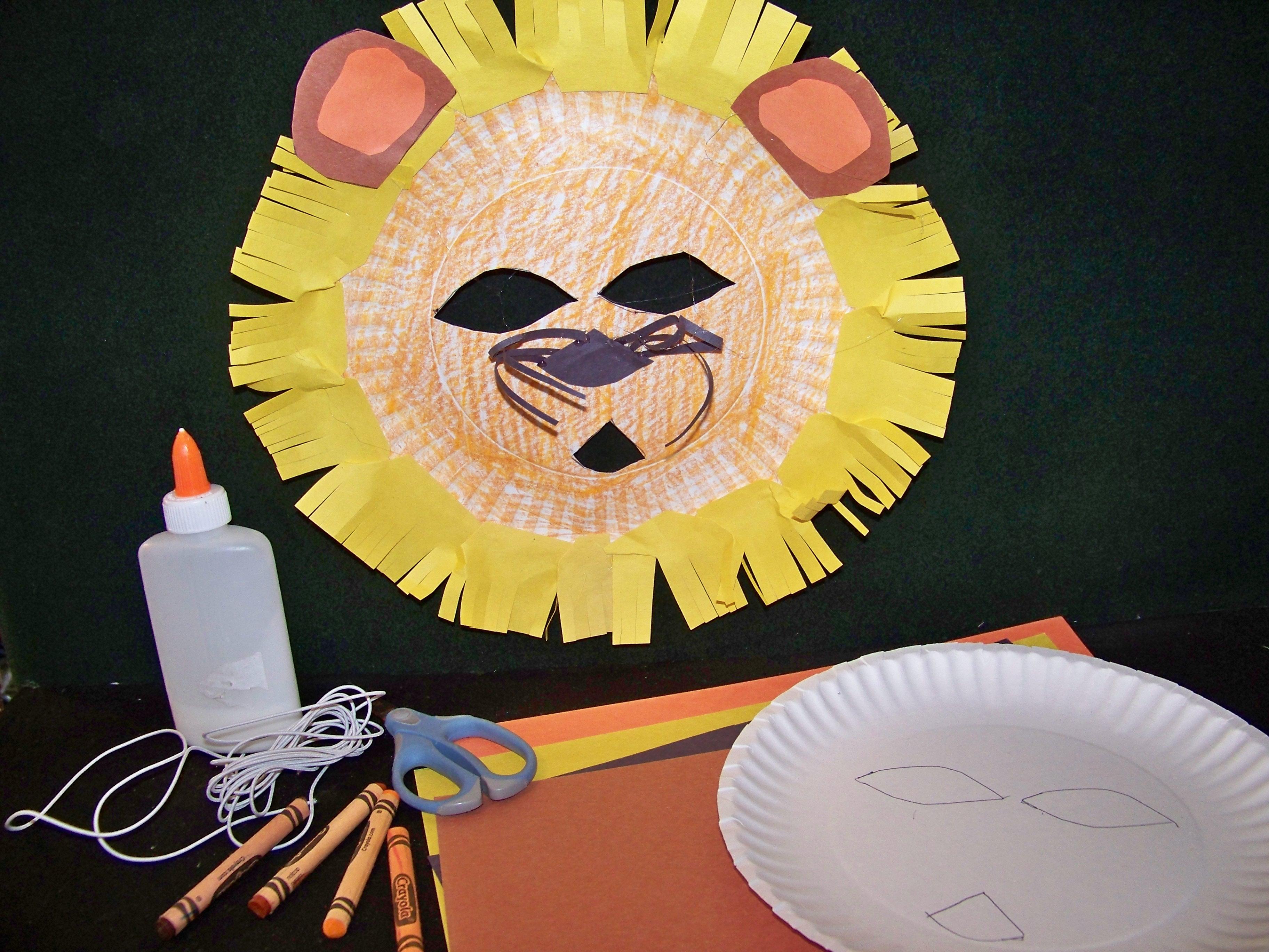 Lion Paper Plate Mask Arrowskidsclub