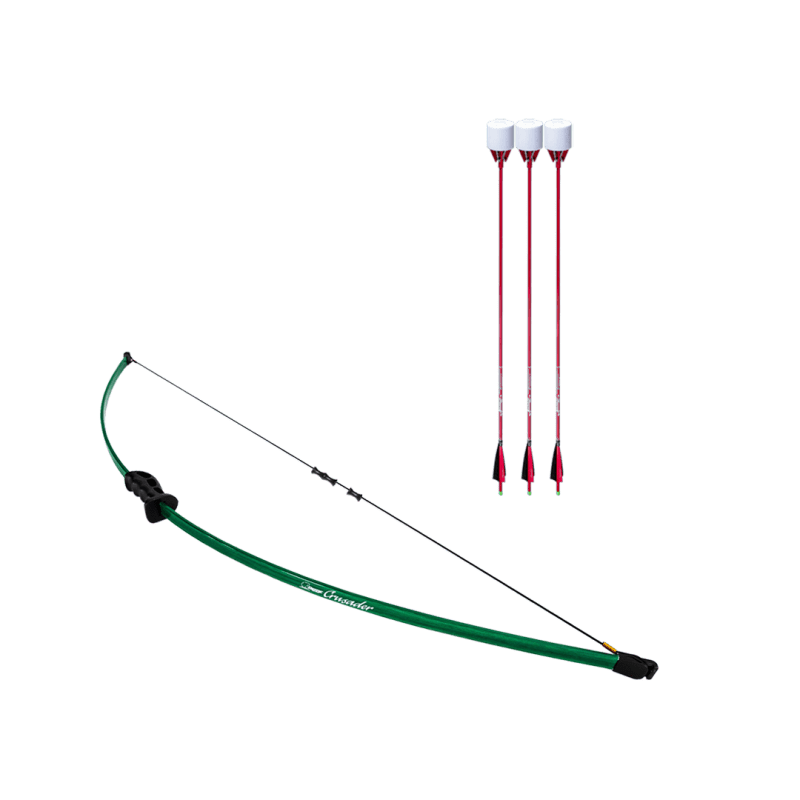 archery set with crusader beginner recurve bow, dacron bowstring, and 3 red carbon fiber arrows with foam tip arrowheads arrowsoft sports