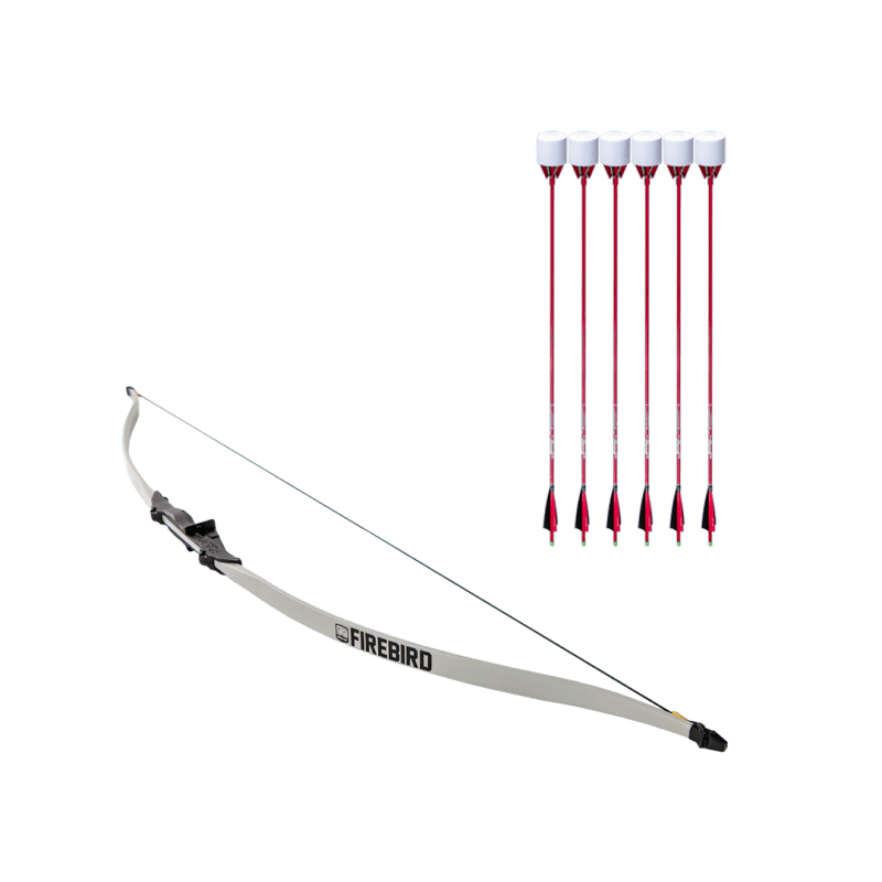 archery set with firebird beginner recurve bow and 6 red carbon fiber arrows with foam tip arrowheads arrowsoft sports