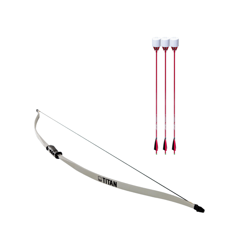 archery set with titan beginner recurve bow and 3 red carbon fiber arrows with foam tip arrowheads arrowsoft sports