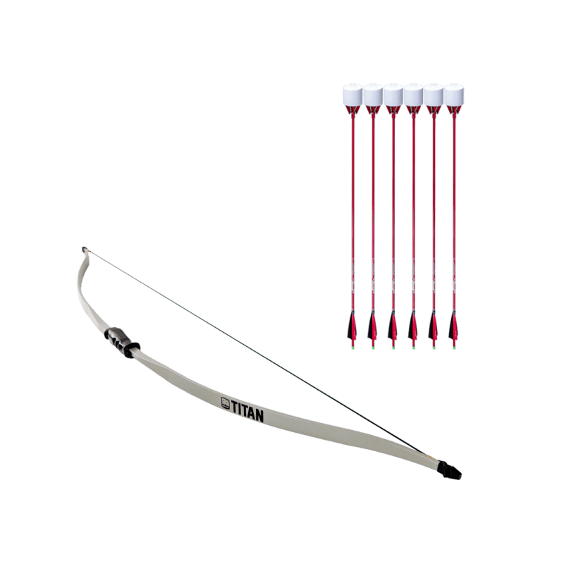archery set with titan beginner recurve bow and 6 red carbon fiber arrows with foam tip arrowheads arrowsoft sports