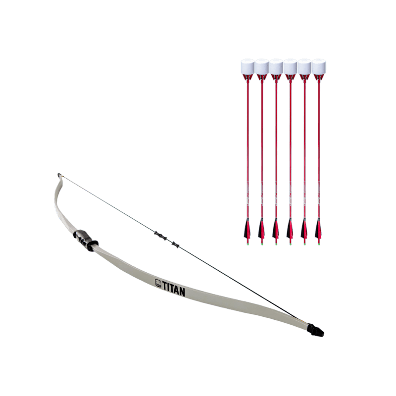 archery set with titan beginner recurve bow, dacron bowstring, and 6 red carbon fiber arrows with foam tip arrowheads arrowsoft sports