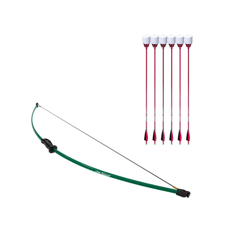 archery set with wizard beginner recurve bow and 6 red carbon fiber arrows with foam tip arrowheads arrowsoft sports