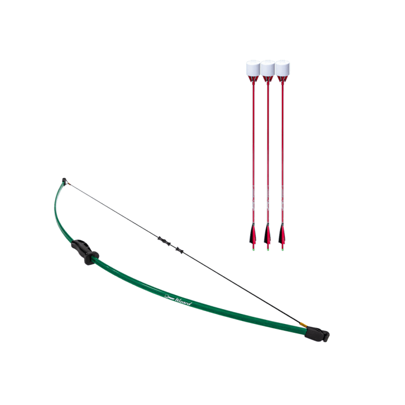 archery set with wizard beginner recurve bow, dacron bowstring, and 3 red carbon fiber arrows with foam tip arrowheads arrowsoft sports