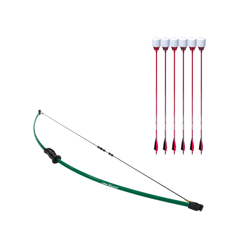 archery set with wizard beginner recurve bow, dacron bowstring, and 6 red carbon fiber arrows with foam tip arrowheads arrowsoft sports