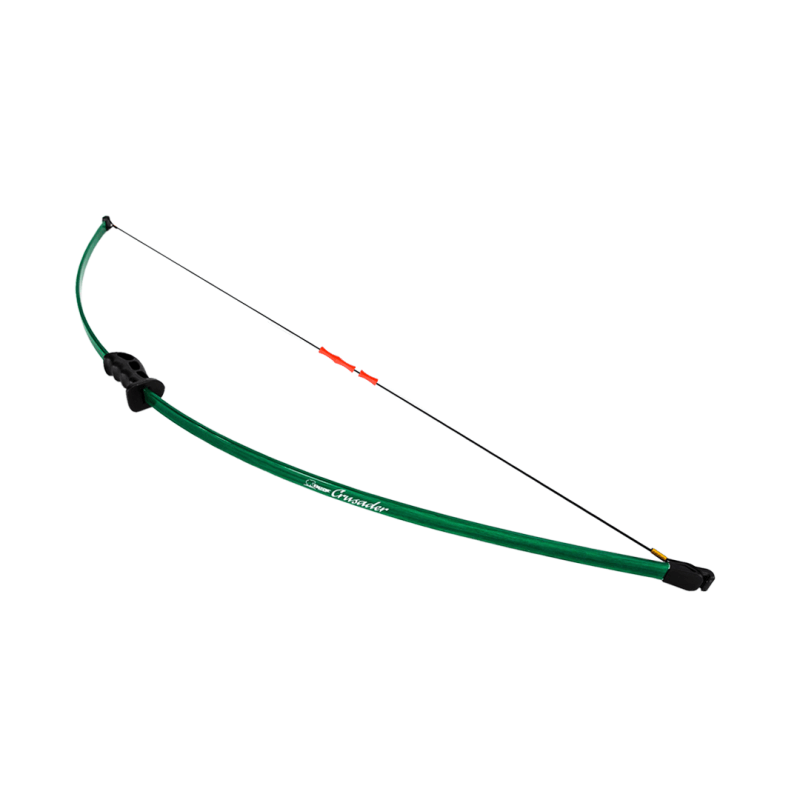 Bear Archery CRUSADER beginner kids and youth archery bow with red finger guards on braided nylon bowstring