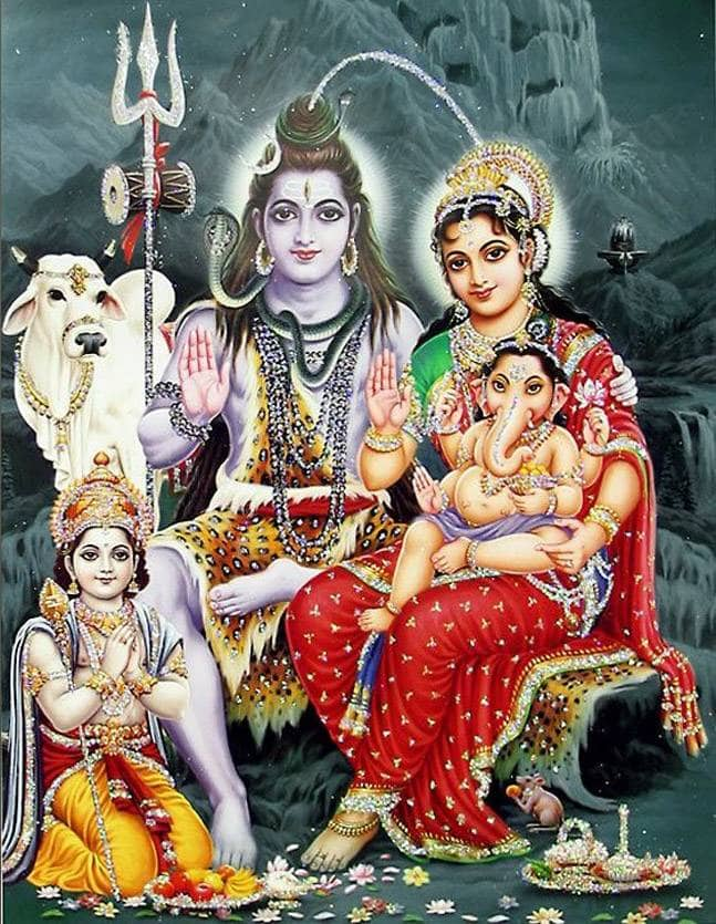 Gansh with Shiva and Parvati