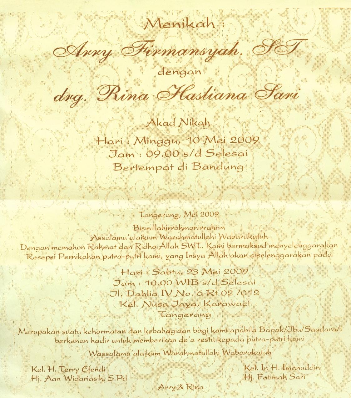 Undangan Syukuran Pernikahan Arry Rina Tangerang 23 May 2009
