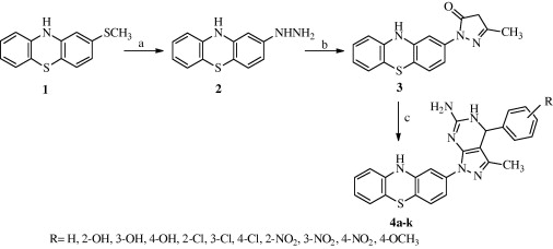 Synthetic protocol of title compounds 4a–k. Reagents and conditions: (a) NH2NH2, ...
