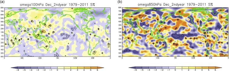 Vertical p-velocidade (Omega) anomalias [10-3 Pa / s] em (a) 100 hPa e (b) 850 hPa ...