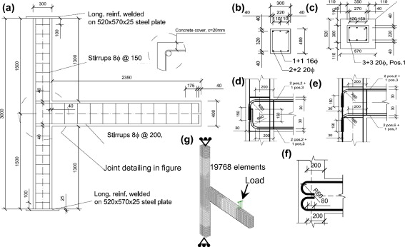 Detailing of EBC joint sub-assemblages (a) beam and column shear reinforcement, ...
