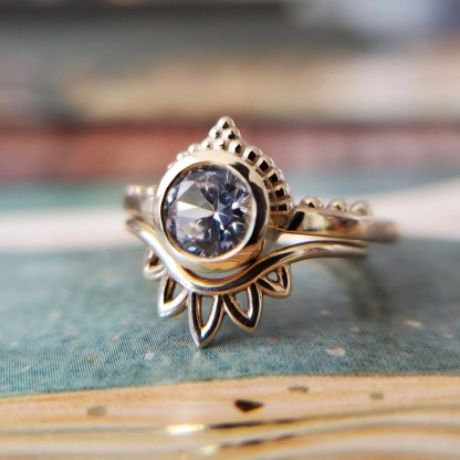 Lab Sapphire Engagement Ring
