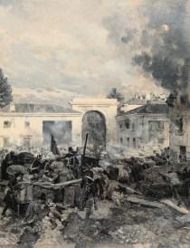 """Edoardo Matania_La """"Quinta giornata"""" di Milano 1848 – Presa di Porta Tosa, olio su carta, 48 x 36.8 cm"""