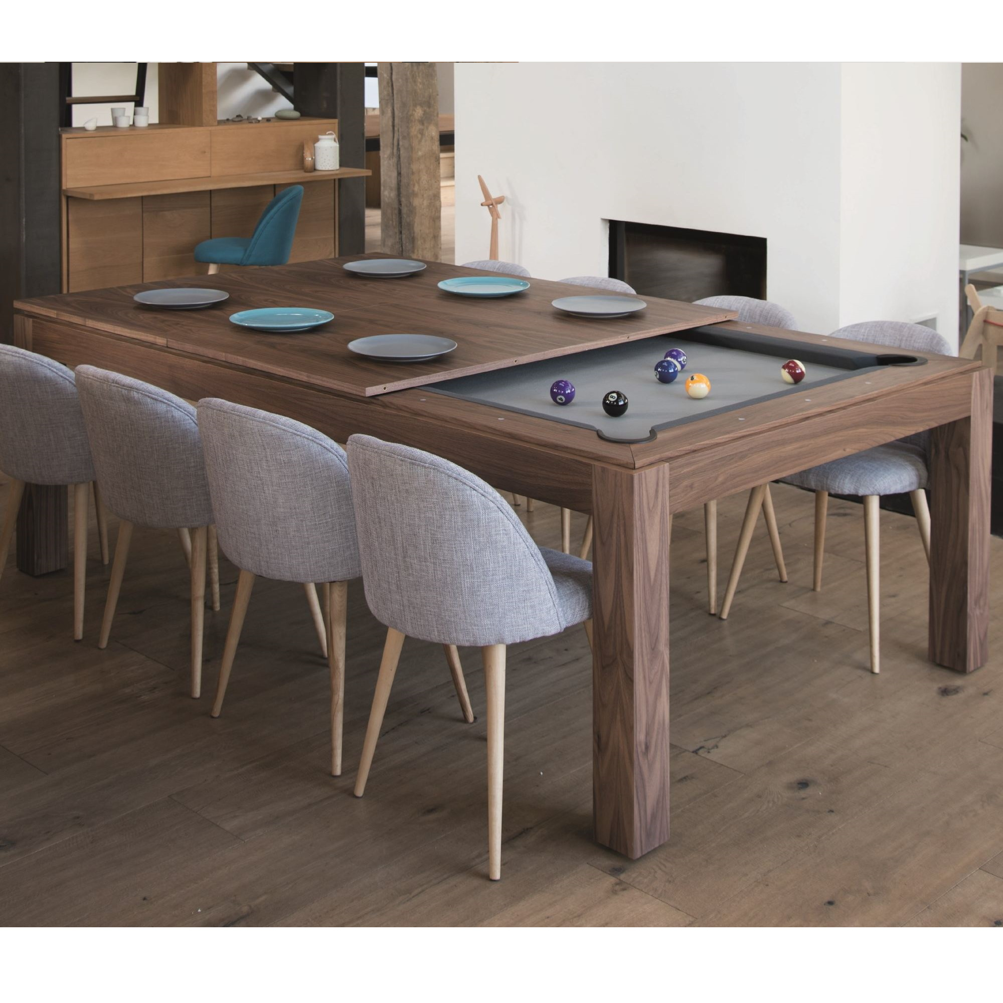 wood line fusion hand crafted dining poo table  ars billiards