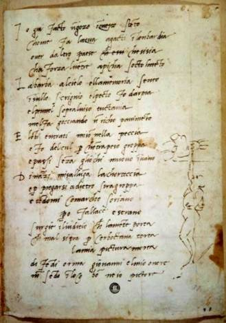 Soneto con autorretrato pintando, Archivio Casa Buonarroti (Florencia)