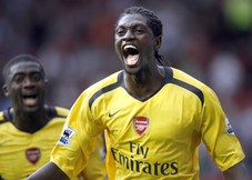 Adebayor celebrates his winner at Old Trafford