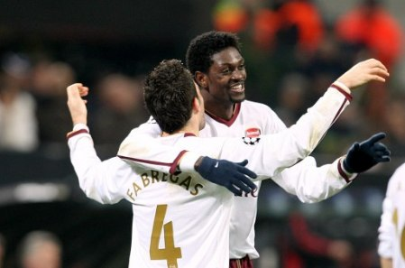 Fabregas and Adebayor celebrate their goals