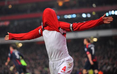 Fabregas celebrates his equaliser