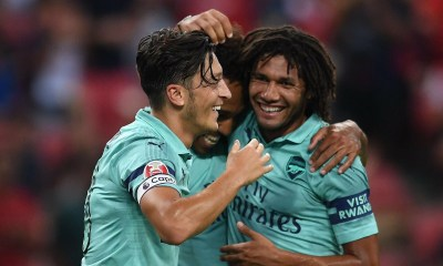 Arsenal midfielder Mesut Ozil and Elneny In Singapore