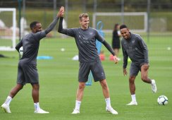 Lacazette, Holding and Aubameyang in Arsenal training