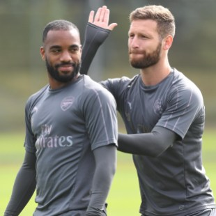 Aubameyang and Mustafi having fun in training