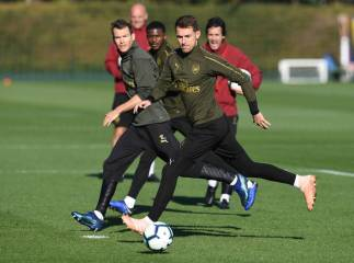 ST ALBANS, ENGLAND - OCTOBER 21: Aaron Ramsey of Arsenal during the Arsenal Training Session at London Colney on October 21, 2018 in St Albans, England. (Photo by David Price/Arsenal FC via Getty Images) *** Local Caption *** Aaron Ramsey