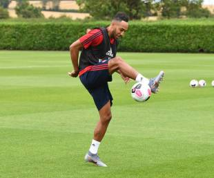 ST ALBANS, ENGLAND - JULY 06: Pierre-Emerick Aubameyang of Arsenal during a training session at London Colney on July 06, 2019 in St Albans, England. (Photo by Stuart MacFarlane/Arsenal FC via Getty Images)